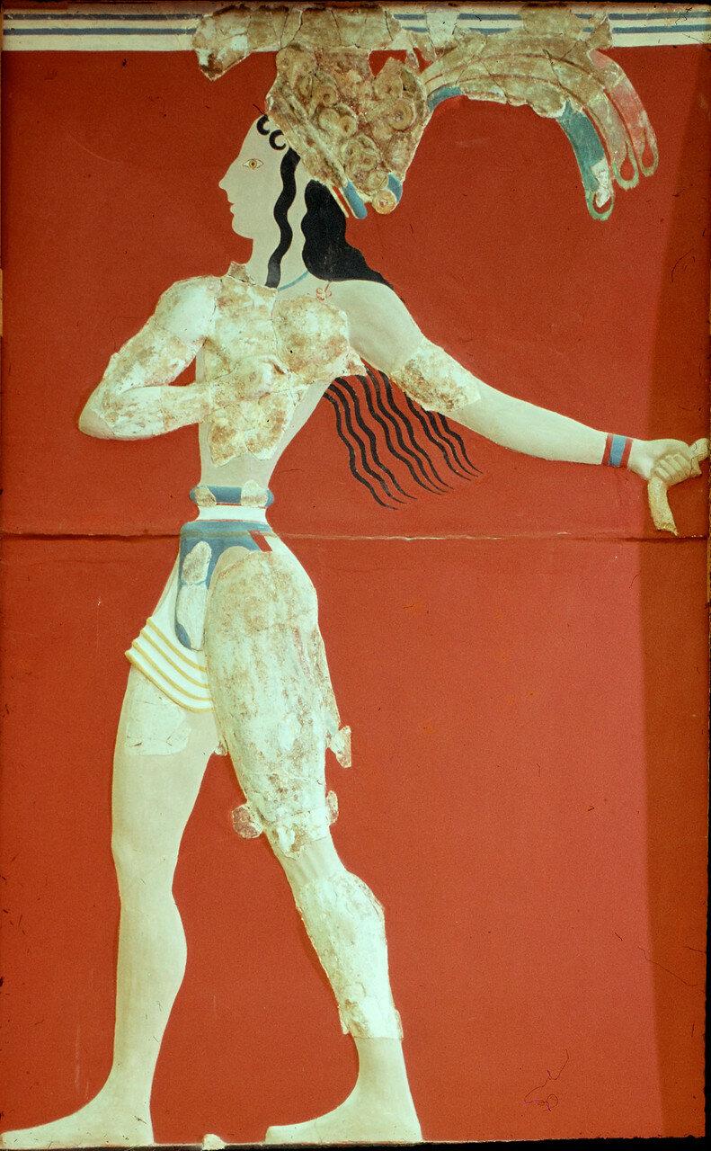Ираклион. Археологический музей Ираклиона. Так называемый принц в короне из перьев (фрагмент)