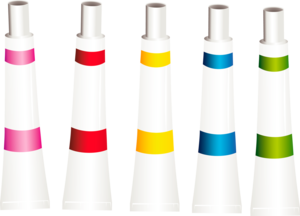the tubes of paint