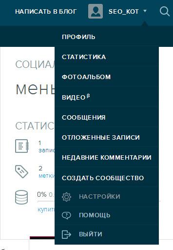Настройки профиля  ЖЖ - вход