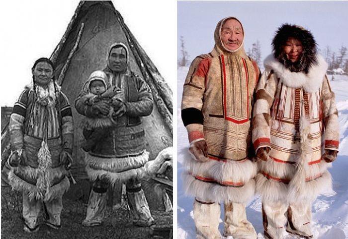 21. Семьи нганасанов в 1927 году и сейчас