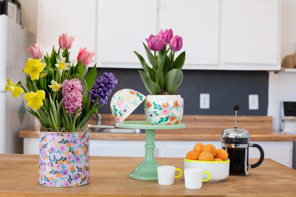Разные цветы, посаженные водин нестандартный горшок, позитивно выделяются наобщем фоне комнаты. В