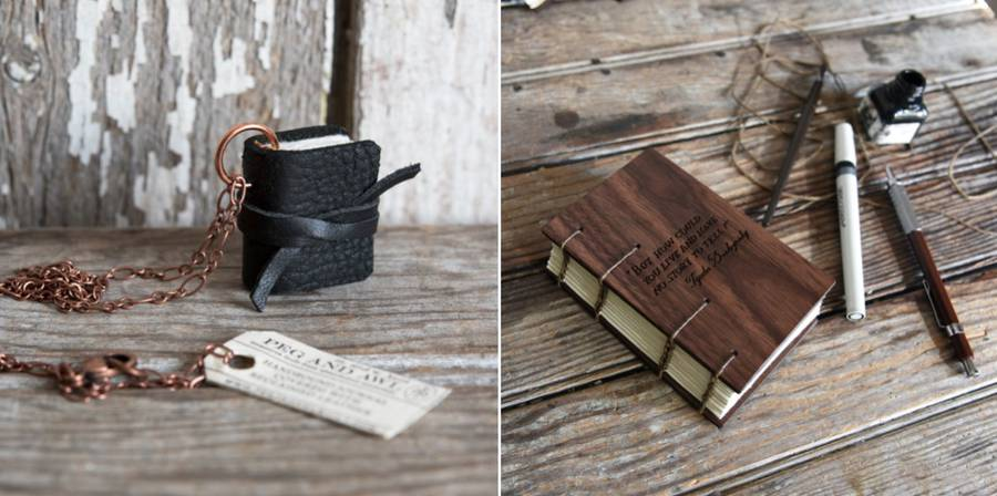 Handcrafted Journals and Tiny Book Necklaces (15 pics)