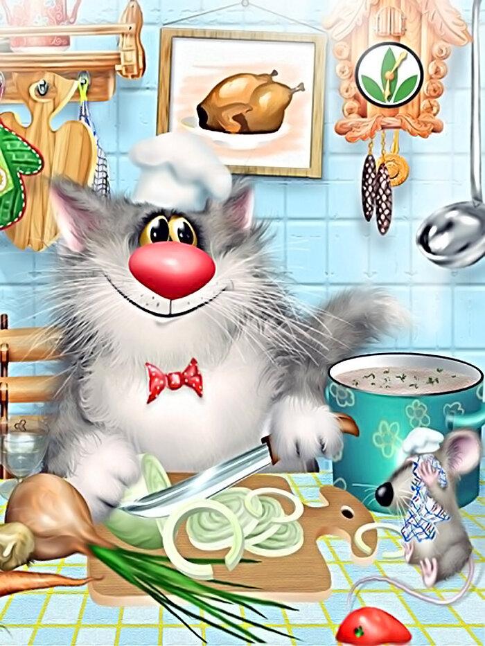 Молодой московский художник Алексей Долотов рисует котов .  И рисует он их исключительно мышью (компьютерной).