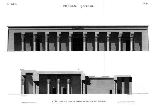 Храм Сети I в Курне, фасад и продольный разрез