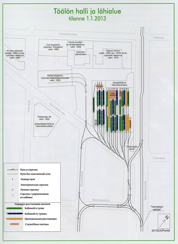 Схема трамвайного депо Тёёлё с
