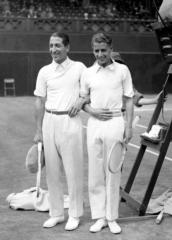 French tennis champion Rene Lacoste, left, and England's Henry W. Austin 1930