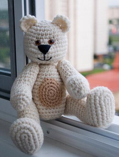 вязаный медведь, игрушка в