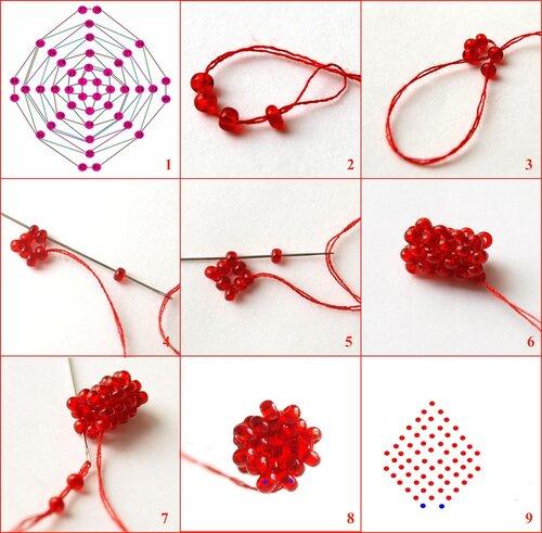 схема плетения мозаики из бисера плетение лепестков.