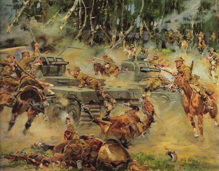 Pšeku varonīgās kavalērijas uzbrukums krietno vāču bruņutehnikai
