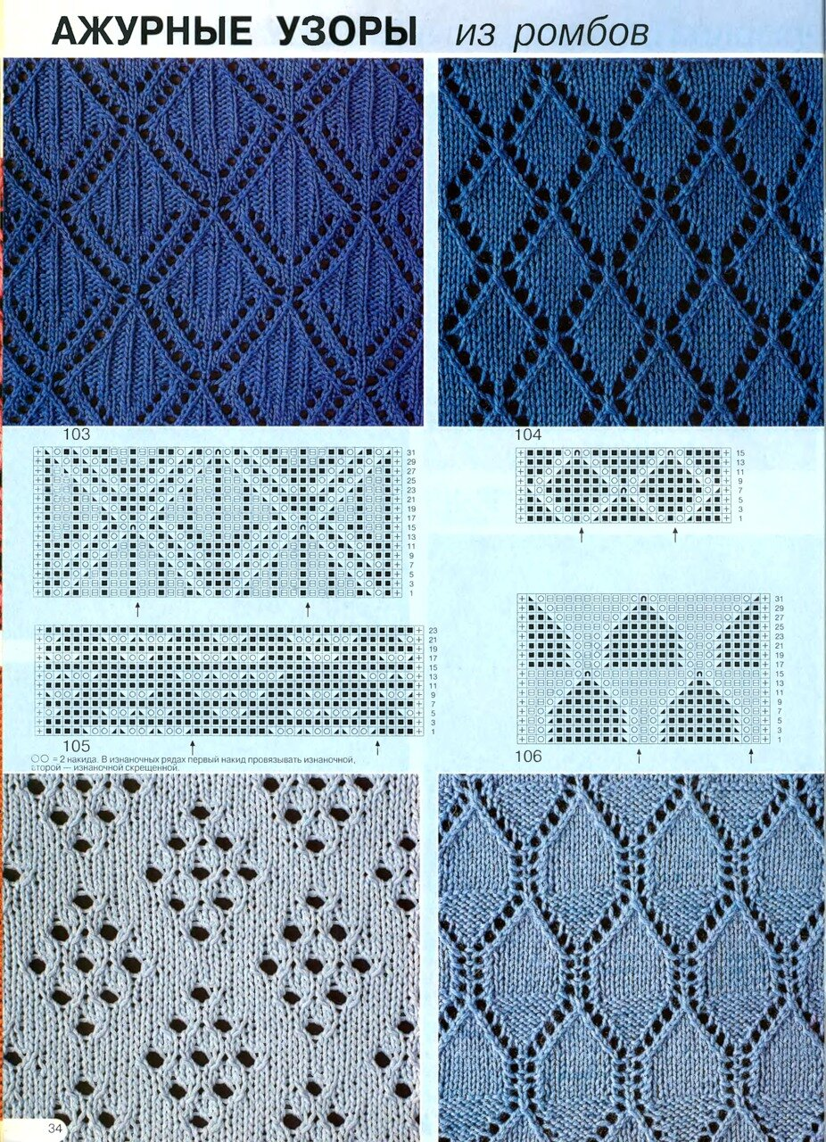 Схемы вязания узора ажурные ромбы