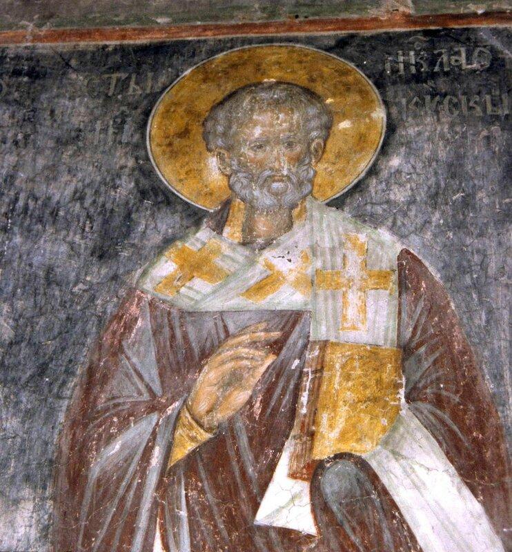 Святитель Николай, Архиепископ Мир Ликийских, Чудотворец. Фреска монастыря Каленич, Сербия. Около 1413 года.