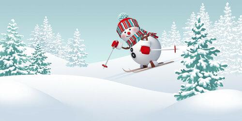Christmas snowman skiing downhill, winter sports