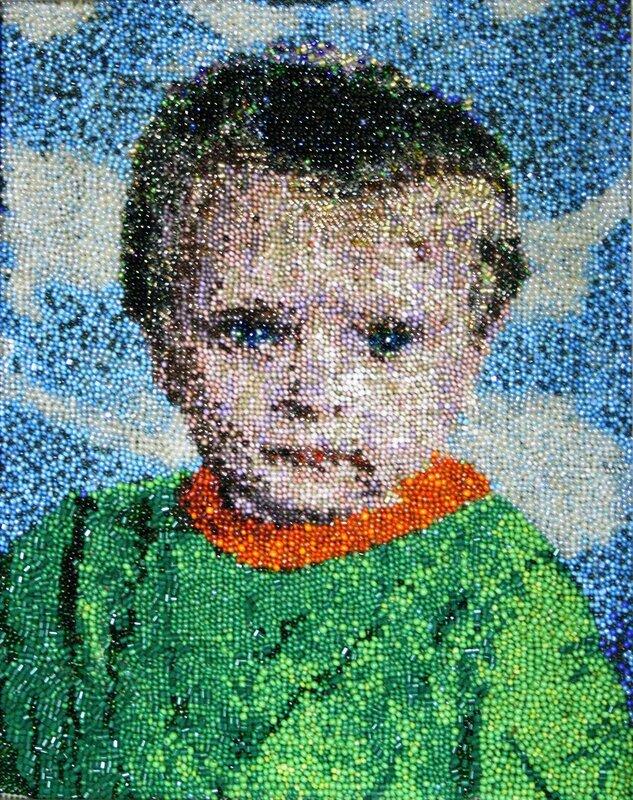 Автопортрет и портрет сына Фёдора.  Выполняю по индивидуальным заказам(бисер,вышивка) .