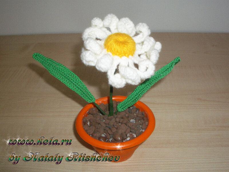 Random image: Ромашка, связанная крючком; вязаные цветы.