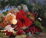 "Theude Gronland (1817-1876) Arrangement of Roses Oil On Canvas -1866 32 x 63 cm (12.6"" x 24.8"") Private collection"