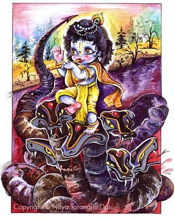 Кришна танцует на змее Калии