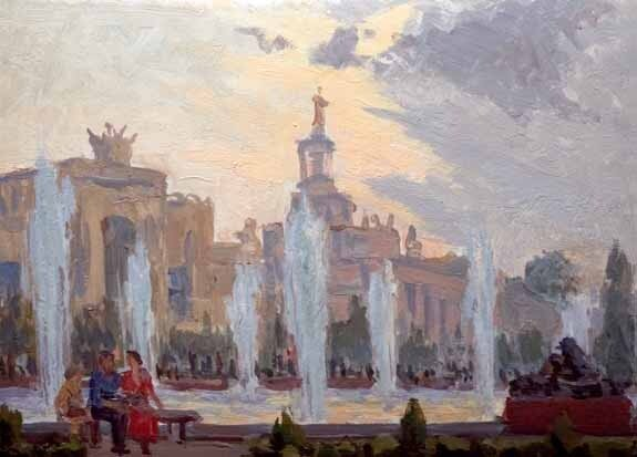 Сергей Алексеевич ЛУЧИШКИН (1902—1989). ВСХВ. 1950-е Картон, масло.