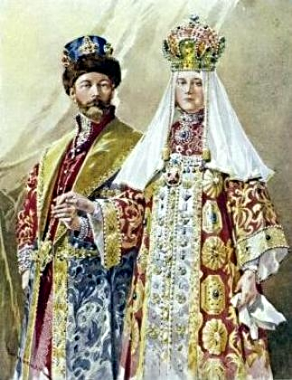 Фредерик де Ханен. Император Николай II и императрица Александра Фёдоровна в русских костюмах.