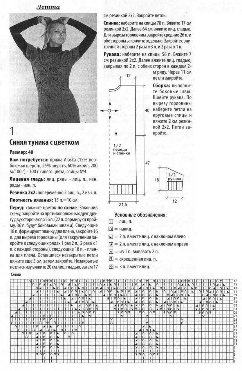 Схема вязания туники спицами 24 фотография