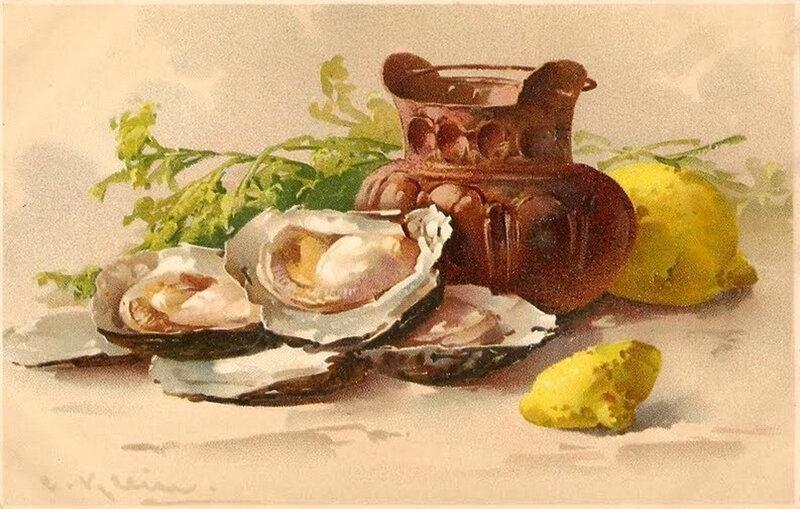 К. Кляйн.   Натюрморт с устрицами и лимонами.