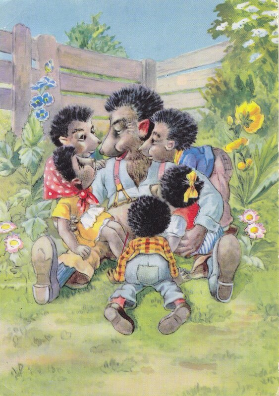старая открытка Семья ежей
