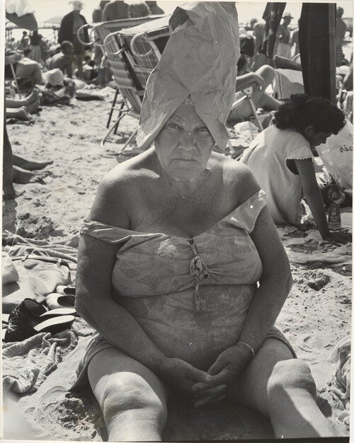 Leon Levinstein, Woman Wearing Paper Bag Hat, Coney Island, New York, 1950s
