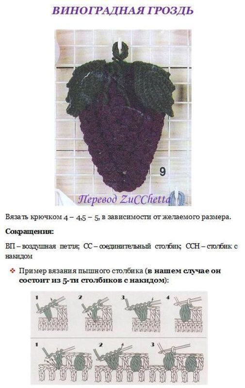 Схемы для вязания крючком виноград 652