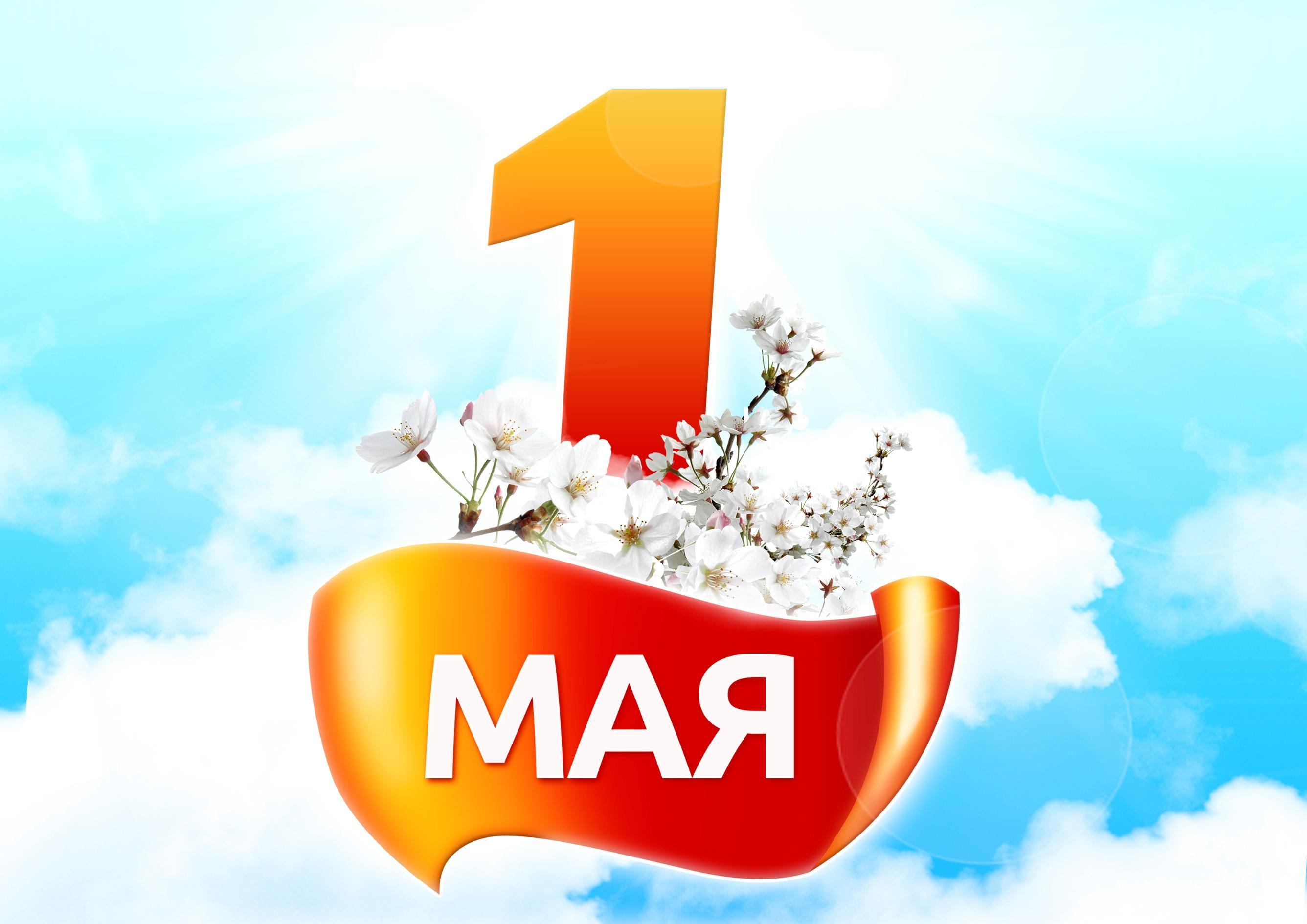 Открытка. 1 мая! Цветущая ветка в небе