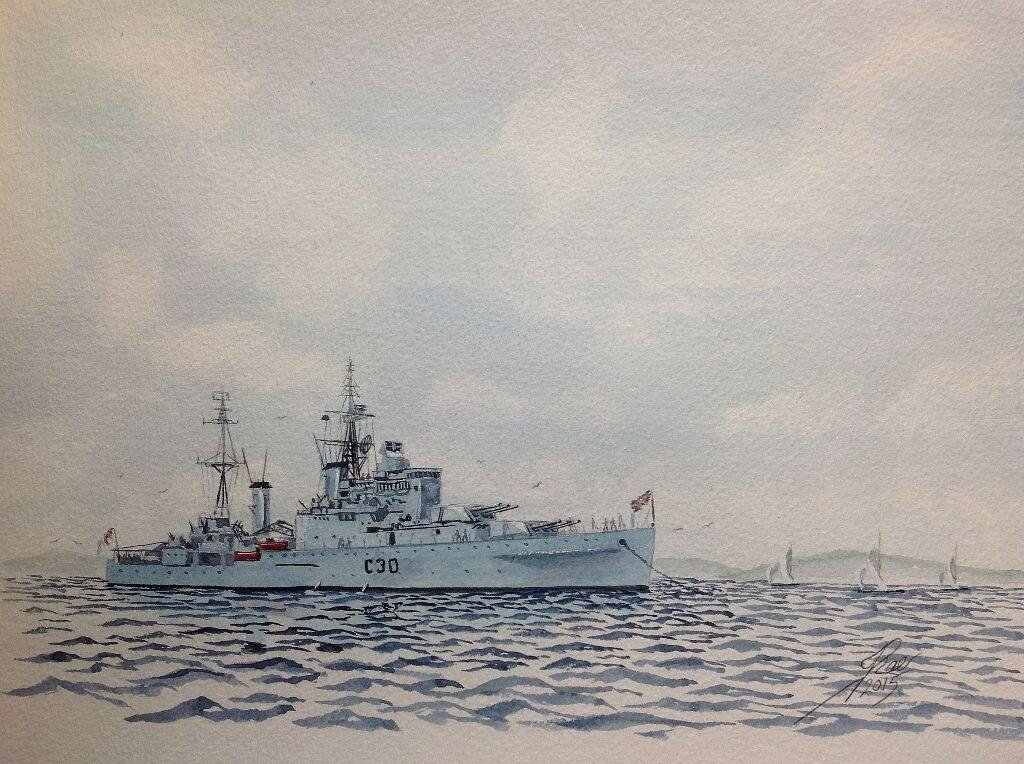 From the 1950s. HMS Ceylon.