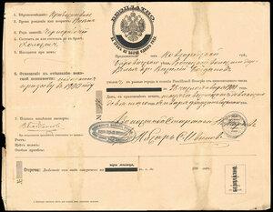 1900 г. Российская Империя. Паспорт.