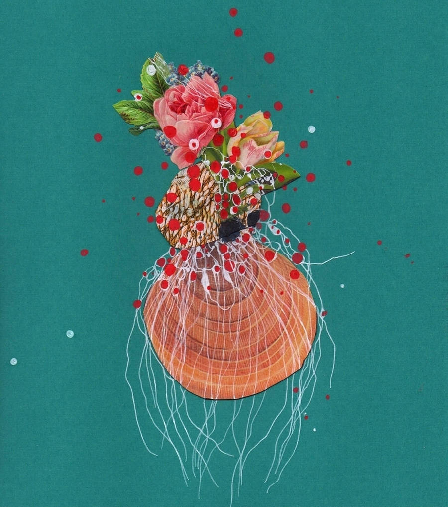 Flowery Sea Creatures Art Collages
