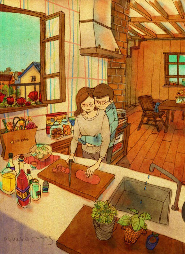 Love is - The little pleasures of a couple life in adorable illustrations