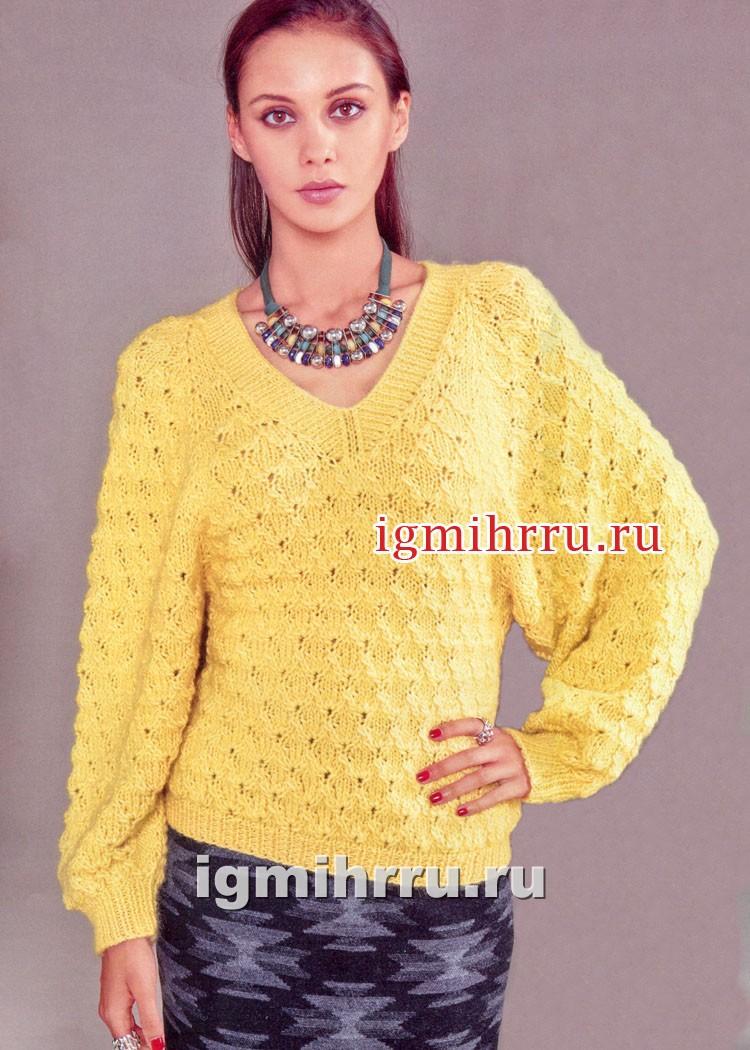 Мягкий желтый пуловер-реглан с фантазийным узором. Вязание спицами