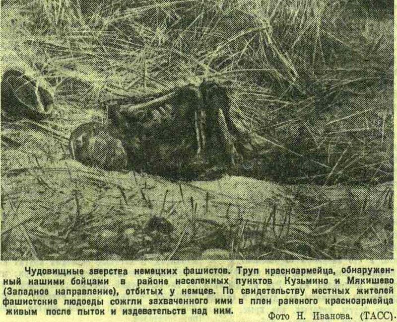 зверства над пленными красноармейцами, «Красная звезда», 6 сентября 1941 года