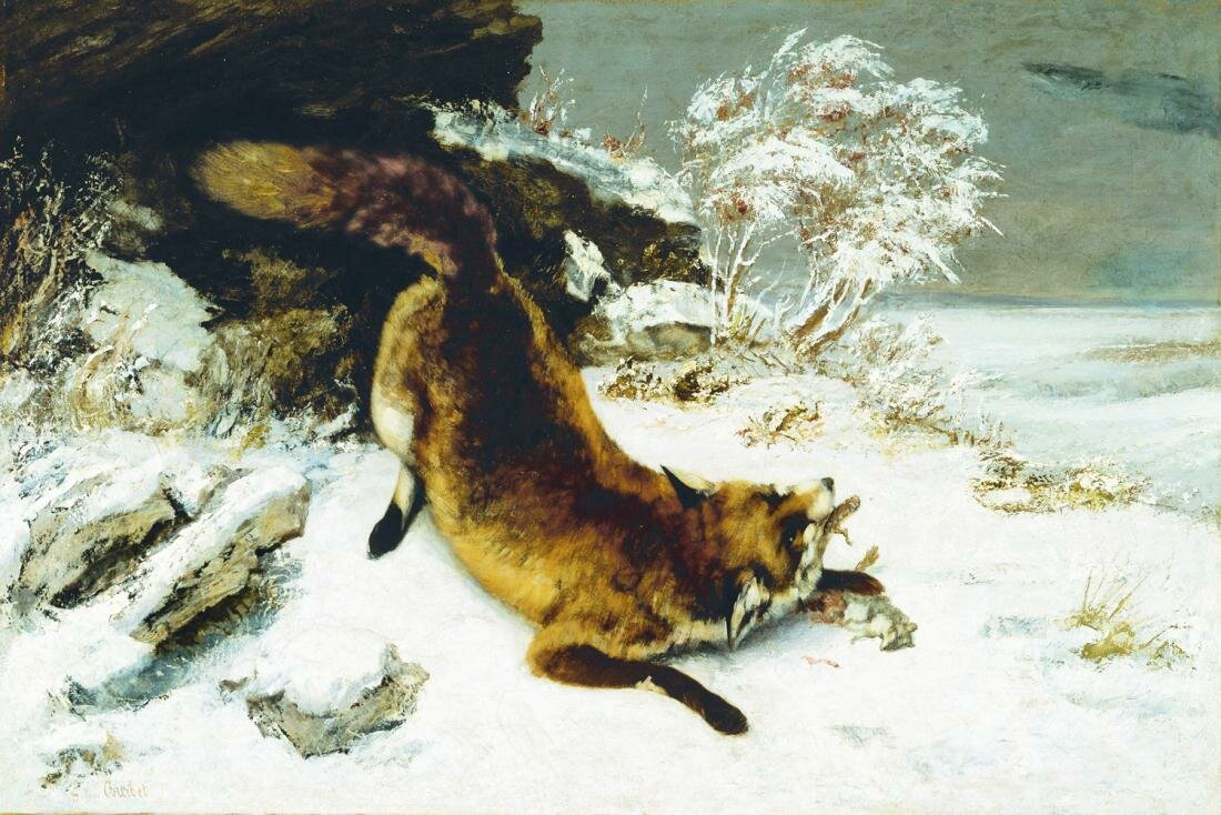Курбе, Лиса на снегу, 1860 г., The Fox in the Snow,
