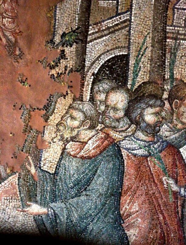 Вход Господень в Иерусалим. Мозаика церкви Святых Апостолов в Салониках, Греция. XIV век. Фрагмент. Иудеи.