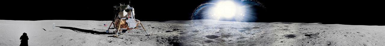 Вернувшись к лунному модулю, астронавты погрузили контейнеры с образцами. Митчелл вошёл в лунный модуль в 136 часов 07 минут полётного времени, Шепард — десять минут спустя. На снимке: Лунная панорама с Лунным Модулем