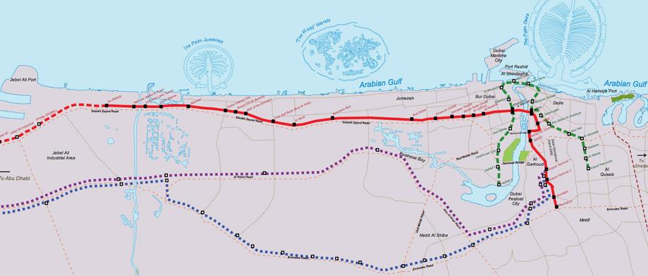 Дубаи метро схема.