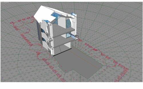 поперечное сечение, разрез по гостиной первого этажа спальне второго этажа и балкону в гостиной