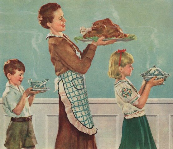 Illustration of mother and children carrying thanksgiving dinner by