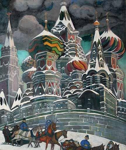 БРАИЛОВСКИЙ Леонид Михайлович (1867—1937) БРАИЛОВСКАЯ Римма Никитична (1877—1959) ХРАМ ВАСИЛИЯ БЛАЖЕННОГО 1920—1930 Фанера, масло.