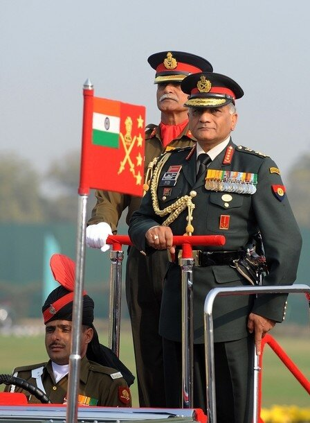 Indian Army Chief V. K. Singh inspects t