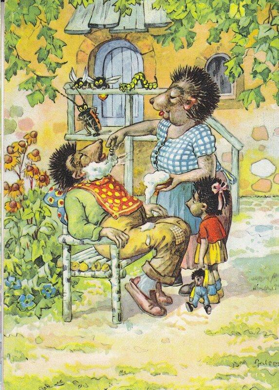 старая открытка Ежиха-цирюльник