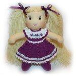 Куколка 12см ростом из экотрикотажа и волосами из гаруса.