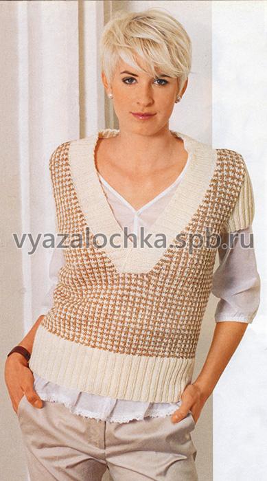 Пуловер с короткими рукавами из узора «куриная лапка»
