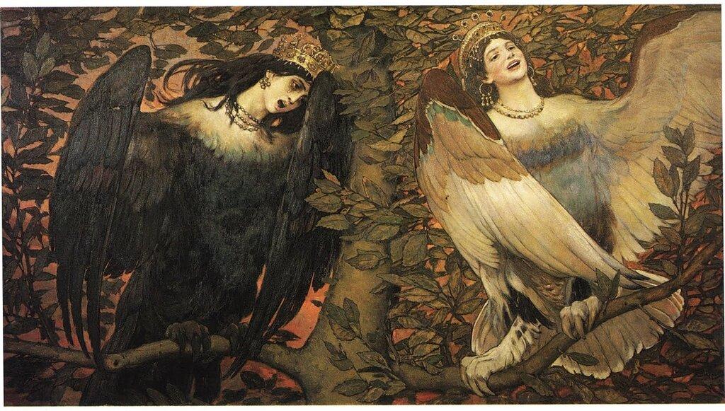 """Viktor Vasnetsov """"Sirin (left) and Alkonost (right): Birds of Joy and Sorrow"""" 1896"""