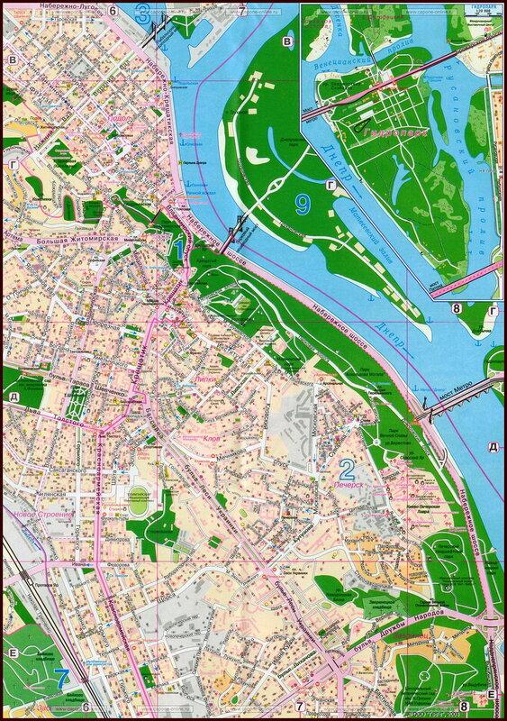 Карты и схемы основных достопримечательностей для гостей города Киева.