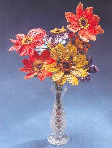 Цветы из пайеток. цветы из пайеток.  Фото активны.  Размер описания определяйте самостоятельно.