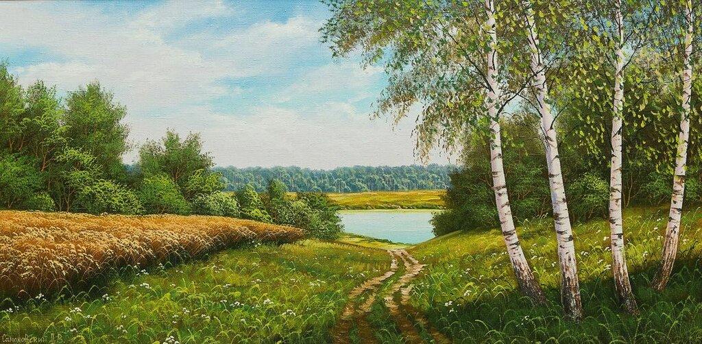 Тихая заводь, сверкает вода, в ней отражается синее небо. Дмитрий Самоковский