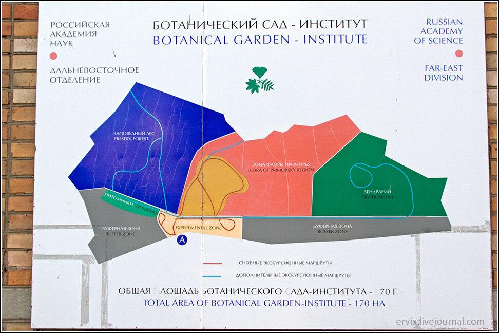 Схема Ботанического сада Владивостока